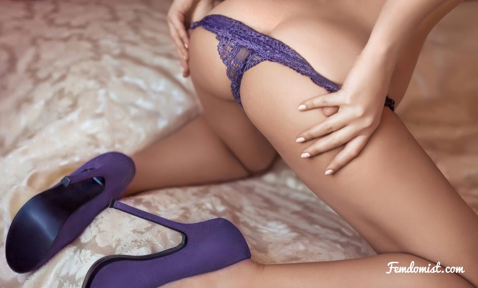 Her purple thong